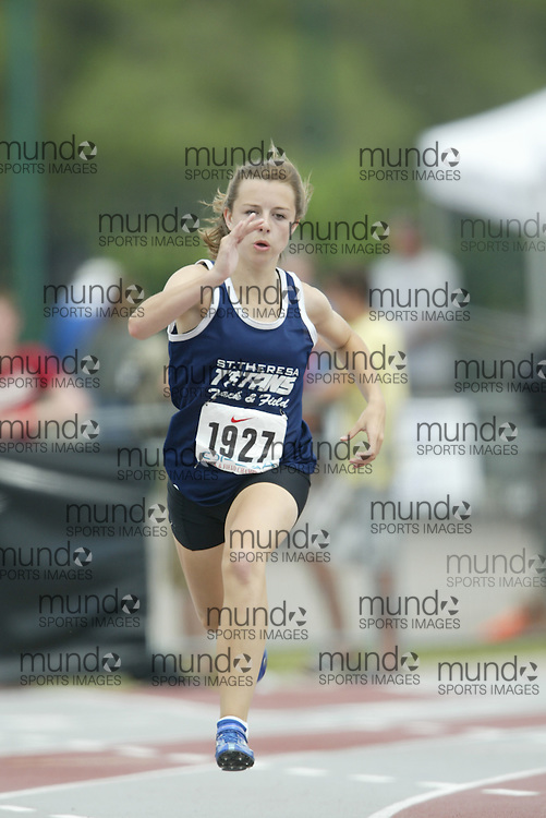 (London, Ontario}---05 June 2010) Katie Dickson of St. Theresa - Belleville competing in the 200m heats at the 2010 OFSAA Ontario High School Track and Field Championships in London, Ontario, June 05, 2010 . Photograph copyright Sean Burges / Mundo Sport Images, 2010.
