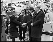 New Fishing Vessels at Dun Laoghaire..1971..26.03.1971..03.26.1971..26th March 1971..After display at the World Fishing Exhibition,three fishing vessels valued at £200,000 were handed over to their respective skippers at Dun Laoghaire harbour. The vessels were built by B.I.M.(Bord Iascaigh Mhara) and represent a cross section of the range of boats built in B.I.M. yards.