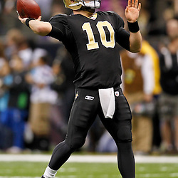 January 7, 2012; New Orleans, LA, USA; New Orleans Saints quarterback Chase Daniel (10) against the Detroit Lions during the 2011 NFC wild card playoff game at the Mercedes-Benz Superdome. Mandatory Credit: Derick E. Hingle-US PRESSWIRE
