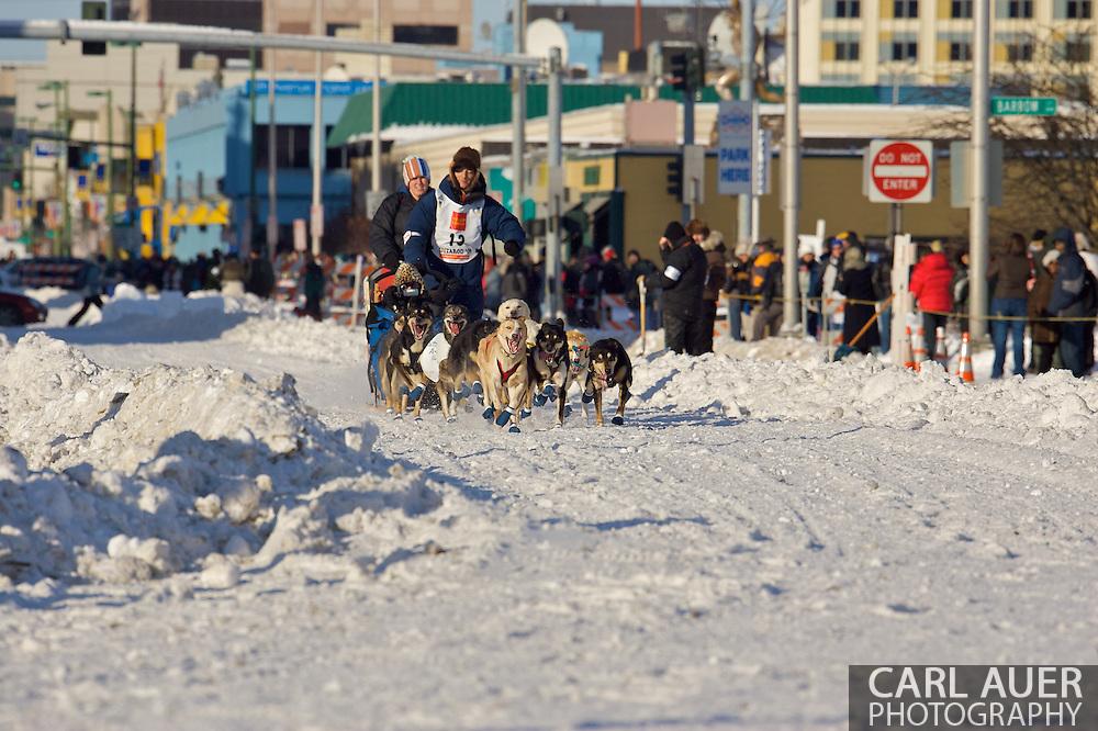March 7th, 2009:  Anchorage, Alaska: Ryan Redington of Wasilla, Alaska at the start of the 2009 Iditarod race.