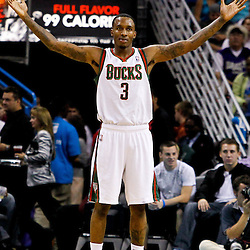 October 27, 2010; New Orleans, LA, USA; Milwaukee Bucks point guard Brandon Jennings (3) reacts after being called for a foul during the second quarter against the New Orleans Hornets at the New Orleans Arena. Mandatory Credit: Derick E. Hingle