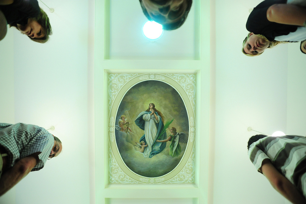 An image of the Assumption of Mary is painted on the ceiling of St. Patrick Church in Stephensville, Wis. The feast of the Assumption is observed on Aug. 15. (Photo by Sam Lucero)