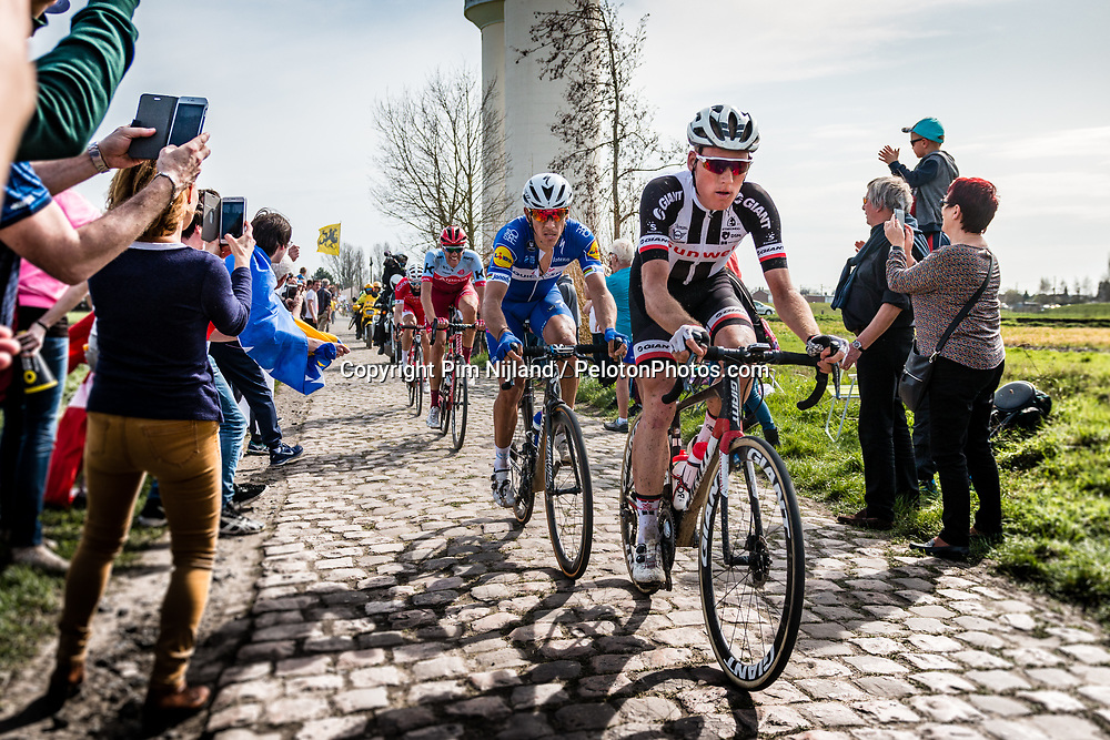 2nd group with Philippe GILBERT from Belgium of Quick-Step Floors at the 4 star cobblestone sector 17 from Hornaing to Wandignies during the 2018 Paris-Roubaix race, France, 8 April 2018, Photo by Pim Nijland / PelotonPhotos.com | All photos usage must carry mandatory copyright credit (Peloton Photos | Pim Nijland)