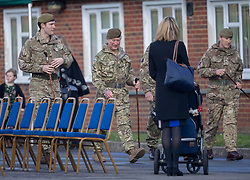 The Prince of Wales, Colonel Welsh Guards (centre), attends Elizabeth Barracks in Woking to present campaign medals to soldiers from the 1st Battalion Welsh Guards following their return from Afghanistan.