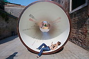 VENICE, ITALY..50th Biennale of Venice.Biennale promo pipe at Arsenale..(Photo by Heimo Aga)