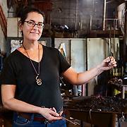 Erin Flores, blacksmith, of Earthen Metals in Elgin, Texas