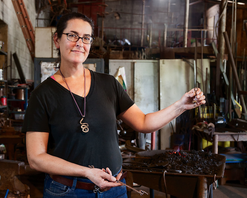 Erin Flores, blacksmith, of Earthen Metals in Elgin, Texas
