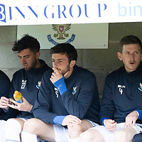 St Johnstone v Livingston….04.05.19      McDiarmid Park        SPFL<br />St Johnstone subs from left, Callum Hendry, Sean Goss, Joe Shaughnessy, Blair Alsto and Danny Swanson<br />Picture by Graeme Hart. <br />Copyright Perthshire Picture Agency<br />Tel: 01738 623350  Mobile: 07990 594431