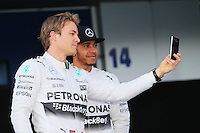 (L to R): Nico Rosberg (GER) Mercedes AMG F1 with team mate Lewis Hamilton (GBR) Mercedes AMG F1.<br /> Formula One Testing, Day One, Sunday 1st February 2015. Jerez, Spain.