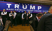 Servers wait to start bringing in breakfast at Politics and Eggs in Manchester, N.H., Wednesday, Nov. 11, 2015. Republican presidential candidate Donald Trump spoke at the event which was hosted by New England Council and NH Institute of Politics.  (AP Photo/Cheryl Senter)