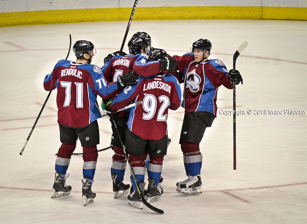 SHOT 1/10/15 2:15:57 PM - Colorado Avalanche teammates celebrate a goal by Erik Johnson #6 against the Dallas Stars'  during their regular season game at the Pepsi Center in Denver, Co. Colorado won the game 4-3.  (Photo by Marc Piscotty / © 2015)