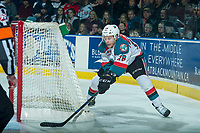 KELOWNA, CANADA - APRIL 8: Carsen Twarynski #18 of the Kelowna Rockets attempts a wrap around goal against the Portland Winterhawks on April 8, 2017 at Prospera Place in Kelowna, British Columbia, Canada.  (Photo by Marissa Baecker/Shoot the Breeze)  *** Local Caption ***