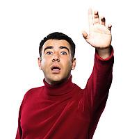 caucasian man hailing gesture studio portrait on isolated white backgound