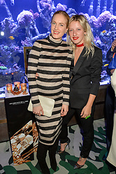Left to right, POLLY MORGAN and HARRIET VERNEY at a dinner hosted by Creme de la Mer to celebrate the launch of Genaissance de la Mer The Serum Essence held at Sexy Fish, Berkeley Square, London on 21st January 2016.