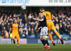 Shane Duffy of Brighton and Hove Albion rises to win a header before Shaun Williams of Millwall - Mandatory by-line: Arron Gent/JMP - 17/03/2019 - FOOTBALL - The Den - London, England - Millwall v Brighton and Hove Albion - Emirates FA Cup Quarter Final