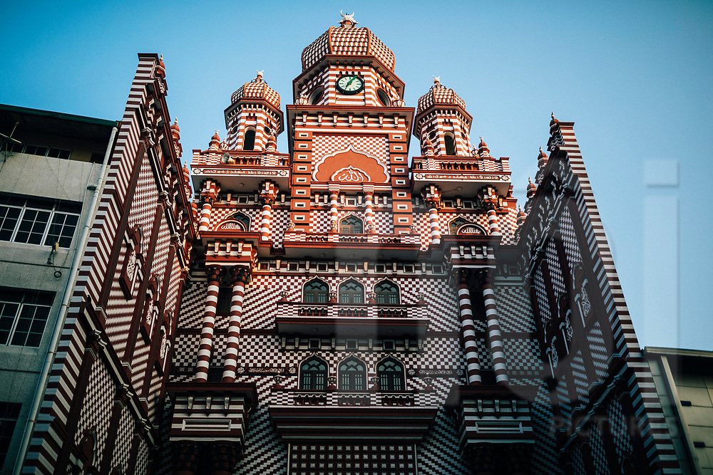 The facade of the Red Mosque, Colombo, Sri Lanka, Asia