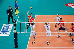 Alen Sket of ACH Volley vs Milos Terzic of Tours VB and David Smith of Tours VB during volleyball match between ACH Volley LJUBLJANA (SLO) and  Tours VB (FRA) of 2012 CEV Volleyball Champions League, Men, League Round in Pool F, 6th Leg, on Januar 18, 2012, in Arena Stozice, Ljubljana, Slovenia. (Photo By Matic Klansek Velej / Sportida.com)