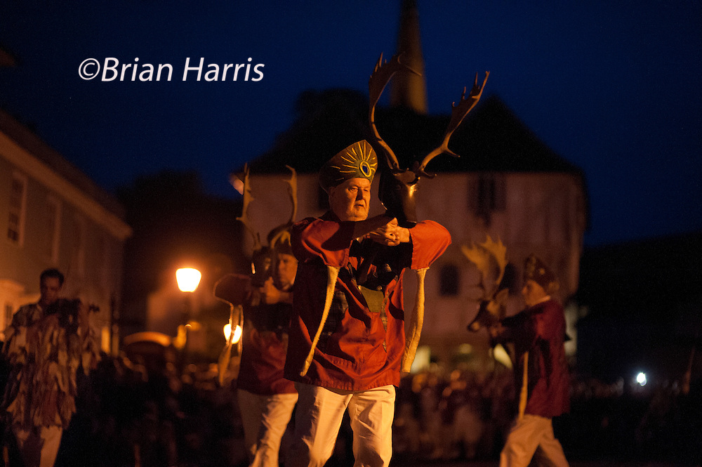 The Thaxted Morris Weekend, Thaxted and surrounding villages, Thaxted, Essex, England. 30 May 2015<br /> Seen here: The Thaxted Morris Men perform to the sound of a single fiddle The Abbots Bromley Horn Dance through the dark streets of Thaxted at 11pm.<br /> 21 teams or 'sides' of Morris Men including teams from Holland , Denmak and Australia danced through the villages such as Finchingfield in rural north Essex during the start of the 345th meeting of the member clubs of the Morris Ring and the 82nd meeting hosted by the Thaxted Morris Men.