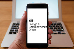 Using iPhone smartphone to display logo of the Foreign and Commonwealth Office