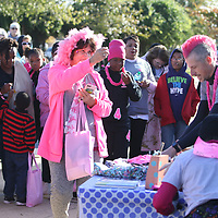 Terri Young decked out in her pink was the first survivor to win a door prize at the Hope Continues 5k Saturday at Fairpark