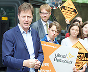 Nick Clegg unveils a new,  poster attacking Theresa May&rsquo;s decision to scrap free school lunches and replace them breakfasts costed at just 7p each. <br /> 31st May 2017 <br /> Geraldine Mary Harmsworth Park, London, Great Britain <br /> <br /> Nick Clegg <br /> former leader of the Liberal Democrats <br /> <br /> <br /> Photograph by Elliott Franks <br /> Image licensed to Elliott Franks Photography Services