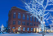 The Wheeler Opera House in downtown Aspen, Colorado before dawn in winter.
