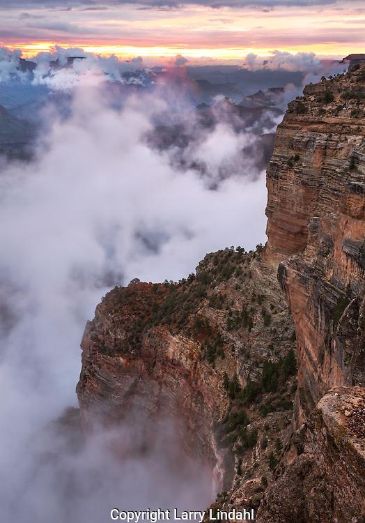 Hopi Point, monsoon, fog, sunrise, Grand Canyon, National Park, Arizona