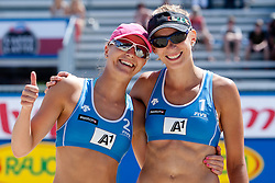 Sara Sakovic and Tamara Borko of Slovenia at A1 Beach Volleyball Grand Slam presented by ERGO tournament of Swatch FIVB World Tour 2012, on July 17, 2012 in Klagenfurt, Austria. (Photo by Matic Klansek Velej / Sportida)