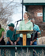 Bar Harbor, USA. 29 April, 2017. Glennon Friedman, Advisory Board member of A Climate to Thrive, addresses the crowd at the Downeast Climate March.