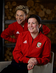 NEWPORT, WALES - Thursday, January 17, 2019: Wales' Helen Ward and Jessica Fishlock (L) during a media session at the Coldra Court Hotel ahead of the International Friendly game against Italy. (Pic by David Rawcliffe/Propaganda)