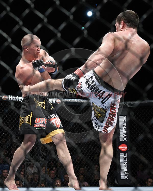 "DUBLIN, IRELAND, JANUARY 17, 2009: Chris Lytle (left) and Marcus Davis during ""UFC 93: Franklin vs. Henderson"" inside the O2 Arena in Dublin, Ireland"