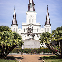 Picture of New Orleans St. Louis Cathedral with General Andrew Jackson statue. The Cathedral-Basilica of St. Louis King of France is located in Jackson Square and was completed in 1794.
