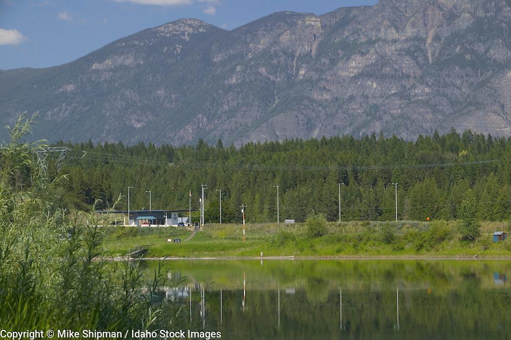 Border station, Idaho/British Columbia, Canada, from Boundary Creek Wildlife Management Area (WMA), Idaho Fish and Game, Kootenai River, Highway 95, Purcell Trench, Boundary County, Idaho, USA