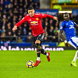 Marcos Rojo of Manchester United  on the ball during the Premier League match between Everton and Manchester United, Goodison Park, Monday 1st January 2018<br /> (c) John Baguley | SportPix.org.uk