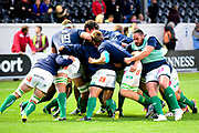 Warm up for Benetton Trevisso forwards ahead of the Guinness Pro 14 2017_18 match between Edinburgh Rugby and Benetton Treviso at Myreside Stadium, Edinburgh, Scotland on 15 September 2017. Photo by Kevin Murray.