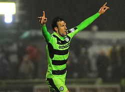 Christian Doidge of Forest Green Rovers celebrates his goal -Mandatory by-line: Nizaam Jones/JMP - 18/11/2017 - FOOTBALL - New Lawn Stadium - Nailsworth, England - Forest Green Rovers v Crewe Alexandre-Sky Bet League Two