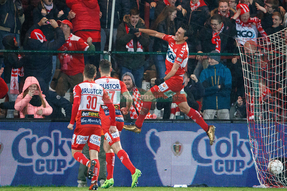 November 29, 2017 - Kortrijk, BELGIUM - Kortrijk's Jeremy Perbet celebrates after scoring during a Croky Cup 1/8 final game between kv kortrijk and Royal Antwerp FC, in Kortrijk, Wednesday 29 November 2017. BELGA PHOTO KURT DESPLENTER (Credit Image: © Kurt Desplenter/Belga via ZUMA Press)