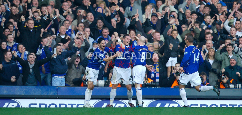 LIVERPOOL, ENGLAND - Saturday, February 9, 2008: Everton's Phil Jagielka celebrates scoring the winning goal against Reading with team-mates Mikel Arteta and Andy Johnson, during the Premiership match at Goodison Park. (Photo by David Rawcliffe/Propaganda)