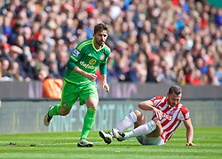 STOKE-ON-TRENT, ENGLAND - Saturday, April 30, 2016: Sunderland's Fabio Borini in action against Stoke City during the FA Premier League match at the Britannia Stadium. (Pic by David Rawcliffe/Propaganda)