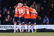 Andy Drury of Luton Town (2nd right) celebrates scoring the opening goal against Cambridge United during the Sky Bet League 2 match at Kenilworth Road, Luton<br /> Picture by David Horn/Focus Images Ltd +44 7545 970036<br /> 31/01/2015