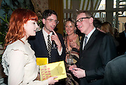 FLORENCE WELCH; STUART HAMMOND; BRETT EASTON ELLIS, Dylan Jones hosts a party for Brett Easton Ellis and his new book.- Imperial Bedrooms. Mark's Club. London. 15 July 2010.  -DO NOT ARCHIVE-© Copyright Photograph by Dafydd Jones. 248 Clapham Rd. London SW9 0PZ. Tel 0207 820 0771. www.dafjones.com.