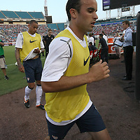 United States Forward Landon Donovan (10) during warmups prior to an international friendly soccer match between Scotland and the United States at EverBank Field on Saturday, May 26, 2012 in Jacksonville, Florida.  The United States won the match 5-1 in front of 44,000 fans. (AP Photo/Alex Menendez)