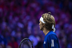 September 22, 2018 - Chicago, Illinois, U.S - Team Europe member ALEXANDER ZVEREV of Germany looks on during the first singles match between Team Europe and Team World on Day Two of the Laver Cup at the United Center in Chicago, Illinois. (Credit Image: © Shelley Lipton/ZUMA Wire)