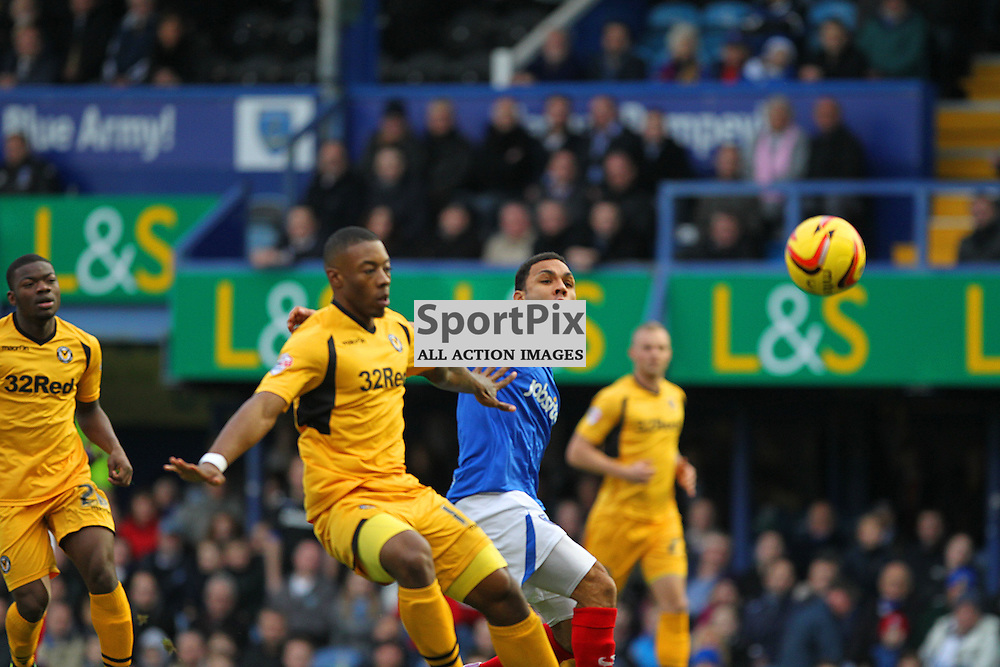 Portsmouth's Andy Barcham attacks the goal during the English SkyBet League 2 match between Portsmouth FC and Newport County FC at Fratton Park, Portsmouth, 14th December 2013 © Phil Duncan | SportPix.org.uk