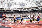GBR lead in the 110m Hurdles Men during the Muller Anniversary Games at the Stadium, Queen Elizabeth Olympic Park, London, United Kingdom on 23 July 2016. Photo by Phil Duncan.