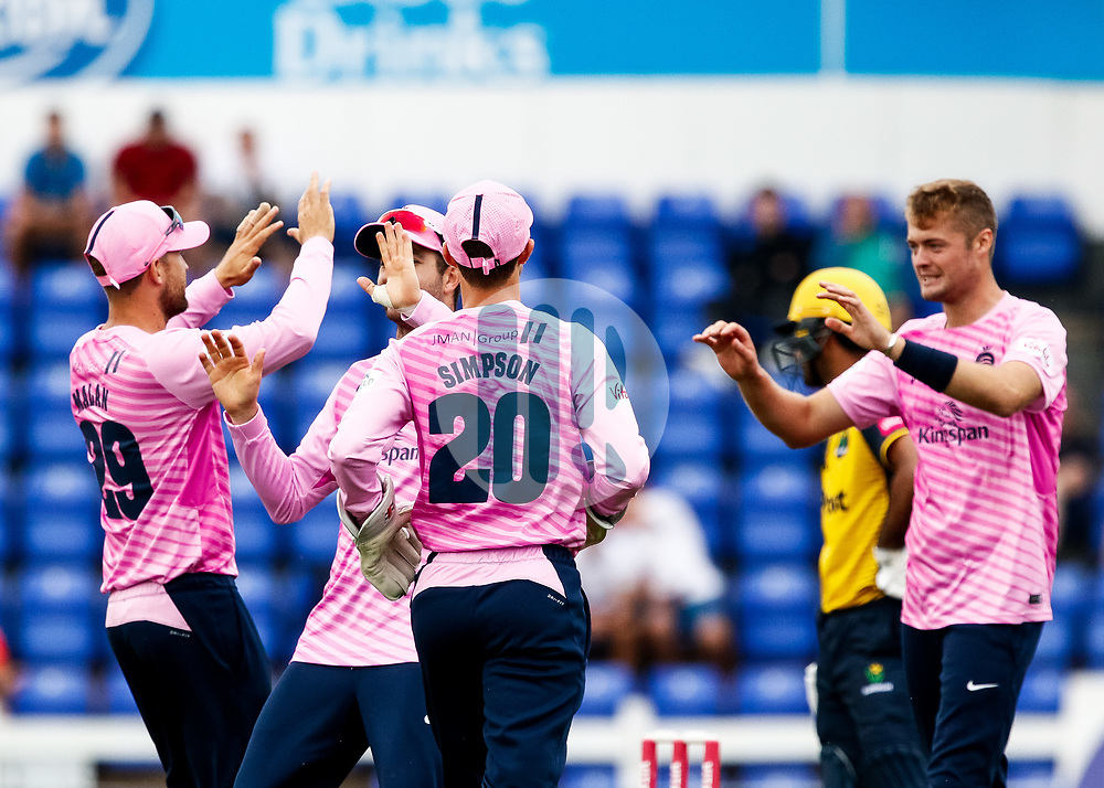 Middlesex players celebrate the wicket of Fakhar Zaman of Glamorgan<br /> <br /> Photographer Simon King/Replay Images<br /> <br /> Vitality Blast T20 - Round 4 - Glamorgan v Middlesex - Friday 26th July 2019 - Sophia Gardens - Cardiff<br /> <br /> World Copyright © Replay Images . All rights reserved. info@replayimages.co.uk - http://replayimages.co.uk
