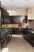 Dark wood galley kitchen