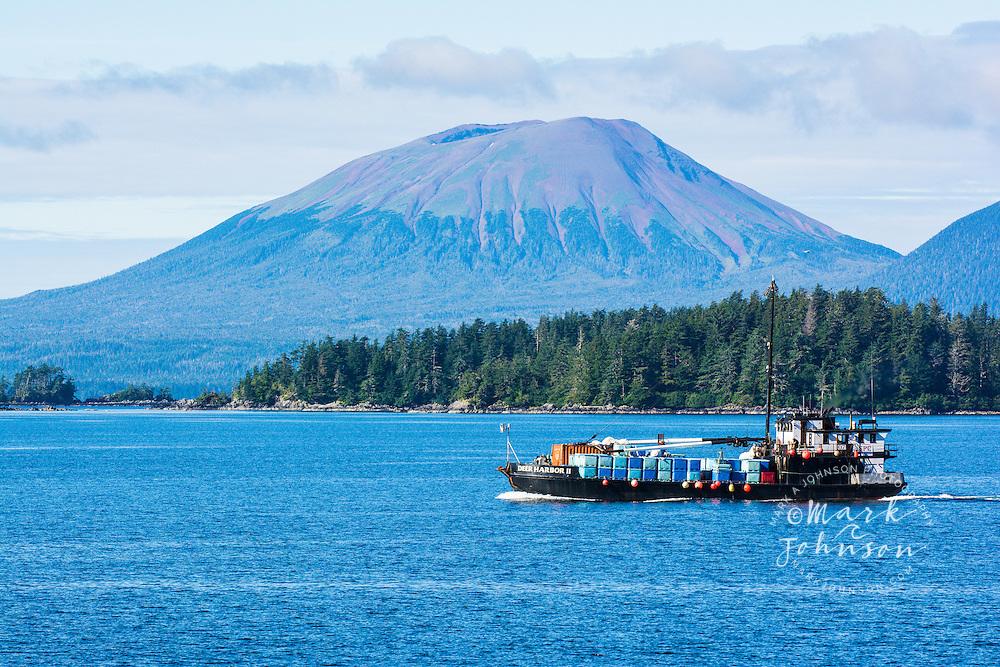 A view of Mt. Edgecumbe, a dormant volcano on Kruzof Island, taken from Sitka, Alaska, which is on Baranof Island. Southeast Alaska, USA