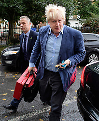 ©  London News Pictures. 16/10/2016. London, UK. British foreign secretary BORIS JOHNSON returning to his London home on the morning that a pro EU article he wrote was published in a Sunday newspaper. Photo credit: Ben Cawthra/LNP