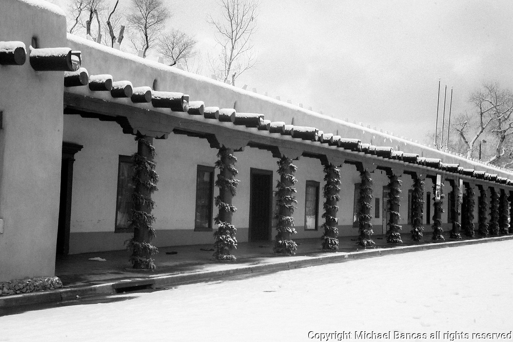 Snowscape in Winter, Palace of the Governors Santa Fe New Mexico